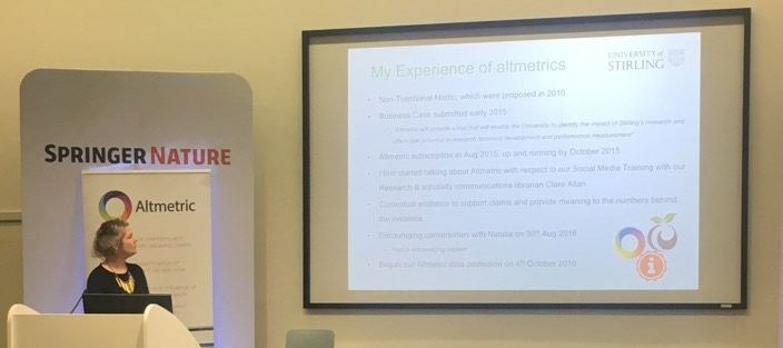 ".@researchfiona on how the Uni of Stirling approached the ""ambitious objective of enhancing [our] research profile by 100%"" #altmetricon16 Photo Credit: @altmetric"